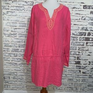 Soft Surroundings Tunic CORAL PINK BEADED LINEN